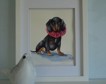 """Original watercolor painting 11 X 14 in. """"Dachshund"""". Paper 300g. Watercolor Dachshund. Dachshund picture. Dog. Pet portrait. Dog picture"""