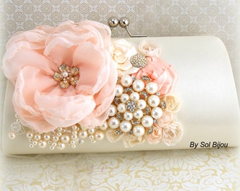 Wedding Clutch Peach Coral Ivory Gold Vintage Elegant Style Bridal Handbag Purse with Pearls