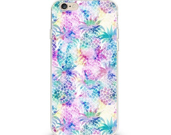 iPhone Phone Case Soft Case Neon Pineapple