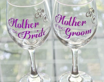 Personalized mother of the bride or groom gift wine glass