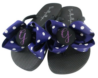 Flip Flops for Bridesmaids, Ladies, Girls. Purple Polka Glitter Bow Flip Flop Sandals Shoes