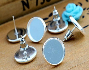 2 pairs + metal stops!, supports Stud Earrings for 12mm cabochons