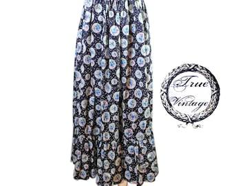 True Vintage romance Gipsy hippie rock Volantrock maxi skirt-long size 40 42 44 m/L