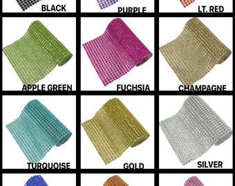 """1 Yard Decorative faux Rhinestone Look Mesh bendable, Plastic Ribbon 4.5"""" wide Choose Color And Package Amount"""