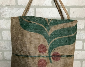 Coffee Bean Sack Recycled Bag Tote Handbag