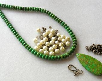 Mosaic Turquoise Magnesite Glass Pearls Brass Green Yellow Jewelry Bead Kit DIY