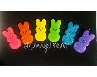 Ready To Ship Marshmellow Peep Resin Easter Bunny Brooch