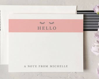 Personalized Hello Notecard - A Note From - Eyelash Stationery [Q317-016]