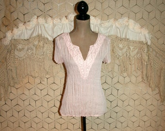 Light Pink Boho Top Summer Top Romantic Blouse Short Sleeve Lace Crinkled Pink Top Pink Blouse Fitted Tunic Top Small Medium Womens Clothing