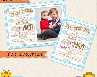 Siblings Joint Party Turquoise Purple and Orange Chevron Invitations • Brother and Sister Birthday • Brothers Birthday • Sisters Birthday •F