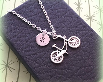 Initial bicycle charm necklace - Cycling jewellery - Personalised cycling gift - Bicycle necklace - Gift for cyclist - Bike ride - UK seller