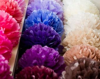 5 large tissue Pom Poms -  - pick your colors- wedding party decorations - nursery decor