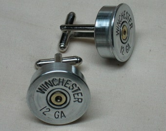 Shotgun Shell Cufflinks Winchester 12 Gauge Nickel - Men's Wedding Cufflinks Gift