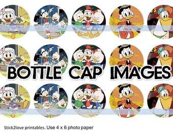 "Duck Tales 4x6 - 1"" circles, bottle cap images, stickers ducktales donald"