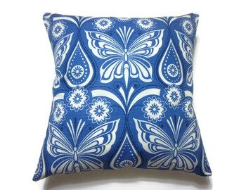 Lynne's Bargain Basement Section Decorative Pillow Cover Blue White Butterfly Damask Toss Throw Accent Cover 18x18 inch x