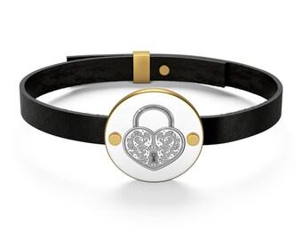 Heart Padlock Leather Bracelet