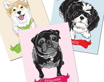 Custom Pet Portrait with Name Banner - One Pet Only - 8x10 Print