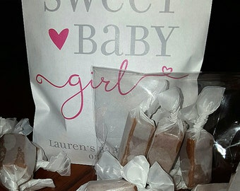Edible BABY SHOWER FAVORS - Sweet Baby Girl/Boy- Personalized, Pre-assembled Favors Guests Will Love/Caramels Featured by the Food Network