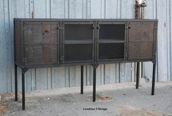 cdi industrial iron hutch sideboard