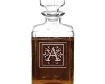 Custom Personalized Whiskey Decanter, 34oz Perfect Groomsman and Bestman Wedding gift Father of the Bride - Groom gift Man Cave Decanter