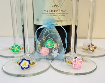 4x Hand Made 'Summer Flower' Wine Glass Charms - BBQ and Garden party