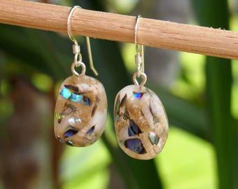 Mermaid Pebble Earrings - Resin Earrings - Eco Resin Earrings - Beach Jewelry