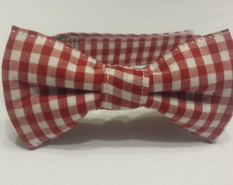 Boys Red and White Gingham Bowtie