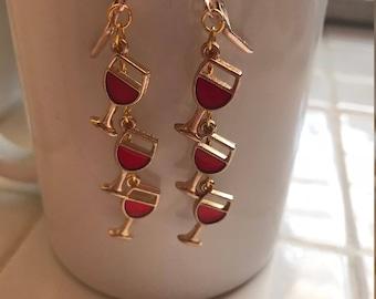 Dangle Fun wine glass earrings,  Fall earrings,  jewelry, gifts for her