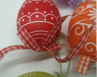 RED Hand-Painted and Hand Blown Easter Egg    (European / Hungarian Style)