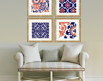 Orange Coral Navy Blue  Floral wall art- Set of 4 Choose size! Modern gallery prints-Made in USA