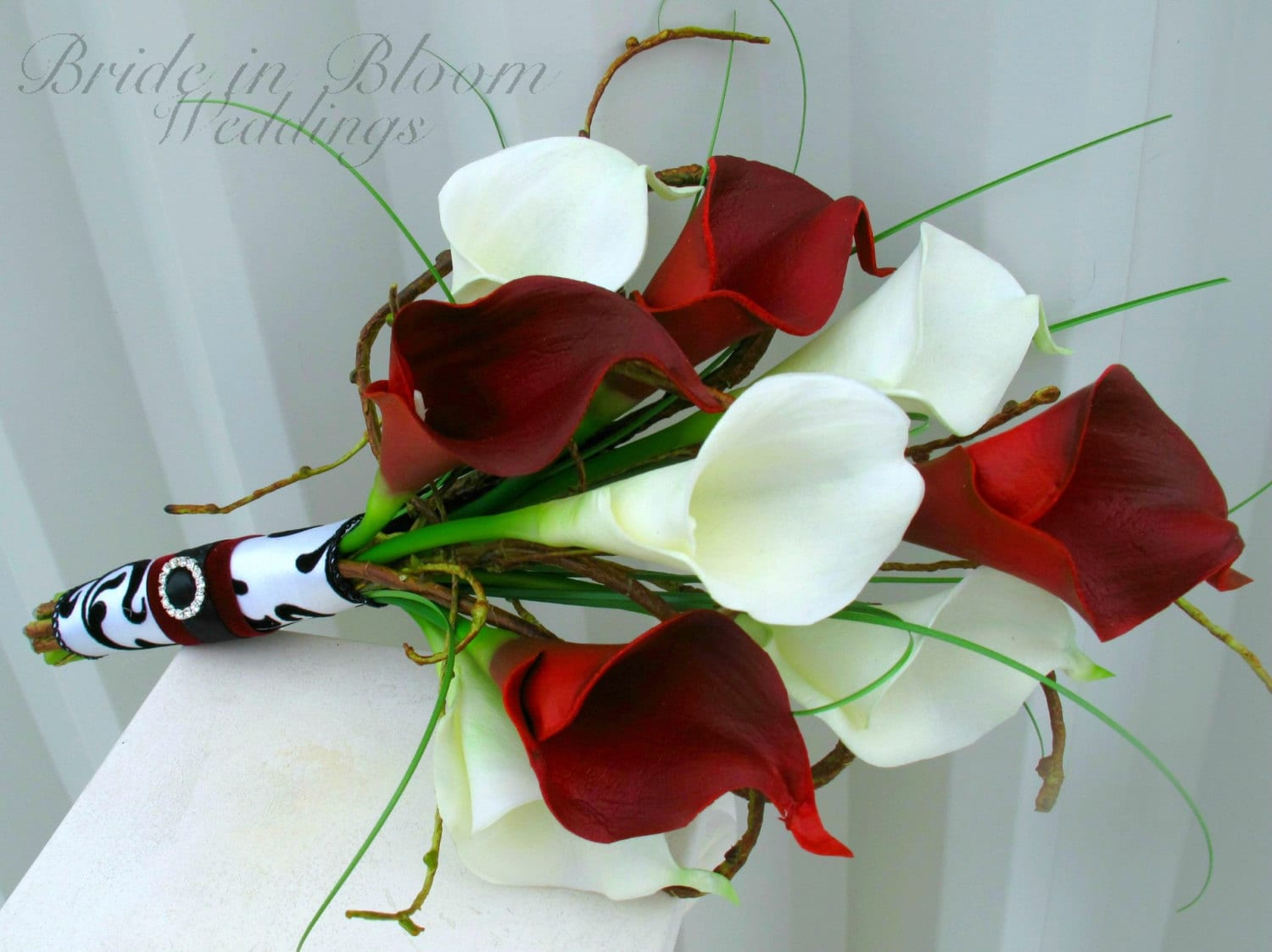 Wedding Bouquet Real Touch Red White And Black Calla Lily