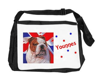 English Bouldog bag personalized with name
