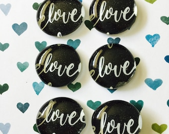 Love glass pebble magnets, pebble magnet, cute gift, party favor, wedding shower, anniversary gift, love magnet, love, refrigerator magnets