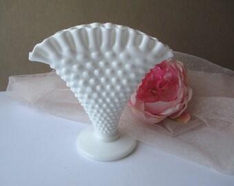 Vintage Fenton Milk Glass Hobnail Fan Vase - Wedding Decor