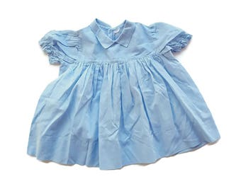 Vintage Baby Dress Blue Baby Dress Toddler Dress Mid Century Baby Girl Dress Peter Pan Collar 12 Month Girl Outfit Reborn Little Girl Dress
