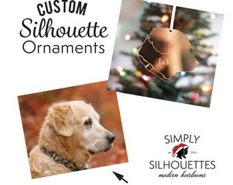 Custom Silhouette Pet Christmas Ornament - Personalized Pet Ornament - Dog Ornament - Cat Ornament -  Animal Ornament