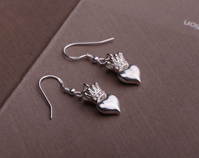 Silver Crown Earrings | Princess Earrings | Silver Heart Earrings | Crown Dangle Earrings | Queen Earrings | Bridal Earrings | Drop Earrings