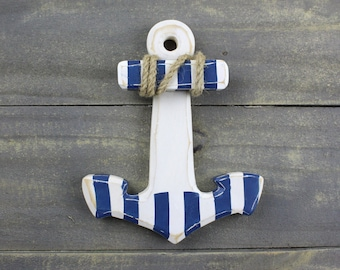 Beach Decor Wooden Anchor with blue stripes  by SEASTYLE