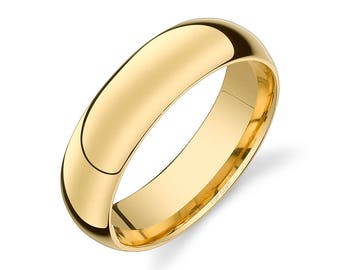 14k Yellow Gold Band (6mm) / PLAIN / Polished Rounded Dome + Comfort Fit / Men's Women's Wedding Ring