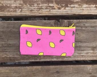 Accessory bag, lemons, pink and yellow, lemonade, summer, picnic, travel baggy, reusable snack bag, make-up case, pencil bag, pencil case,