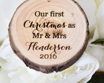 Our first Christmas tree slice ornament  -wedding gift- personalized Christmas decor