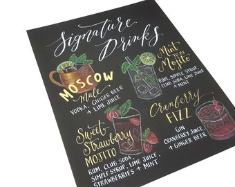 SIGNATURE DRINK SIGN, Custom Hand Lettered Drinks Menu, Calligraphy Sign for Wedding Bar 11x14