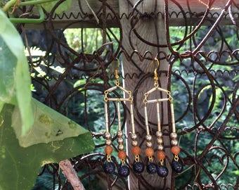 Aztec Style Chandelier Earrings
