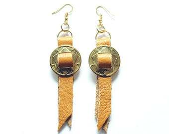 Tan Leather Concho Earrings, Leather Western Earrings, Leather Western Jewelry, Cowgirl Country Chic Earrings