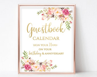 Printable Guest Book Sign Printable Guestbook Alternative Guest Book Calendar Sign Guest Book Wedding Sign DIY 4x6, 5x7, 8x10 Pastel Blooms