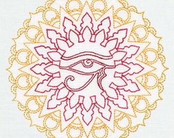Egyptian Eye of Ra Medallion Embroidered Flour Sack Hand/Dish Towel