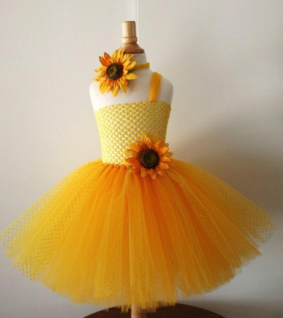 Baby Girls Yellow Sunflower Glitter Tutu Dress Infant To