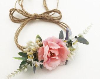 Tieback Flower Crown Headband, Newborn Photo Prop, Baby Tieback Flower Crown, Baby Flower Crown, Toddler Flower Crown, Girls Flower Crown