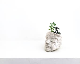 Small white ceramic planter, handmade, sculpted. The Meditating Planter, for small succulents and cacti. Unusual gift idea.
