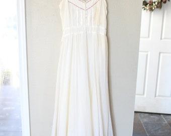 vintage gunne sax corset cream lace guazy gown dress